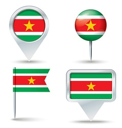 Map pins with flag of Suriname vector