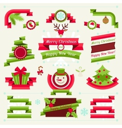 merry christmas banners ribbons and badges vector image