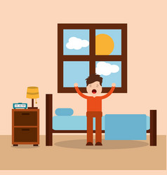 Morning bedroom cartoon character waking up vector
