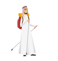 muslim man hiker walking with trekking sticks vector image