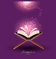 Muslim quran with magic light for ramadan islam vector