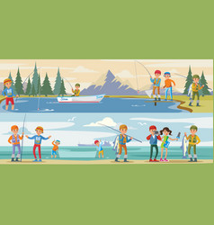 Outdoor activity horizontal banners vector