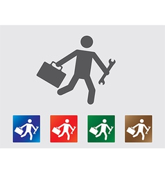 People late for work icons vector image