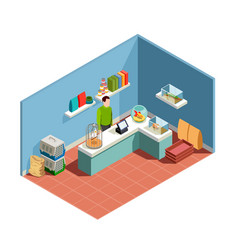 Pet shop isometric composition vector
