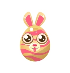 Pink And Cream Stripy Egg Shaped Easter Bunny vector