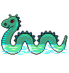 pixel nessie loch ness monster detailed isolated vector image
