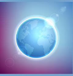 planet earth on colorful defocused lights bokeh vector image