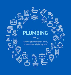 plumbing signs round design template thin line vector image