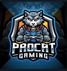 pro cat gaming esport mascot logo vector image