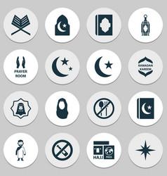 Ramadan icons set with isha moon headscarf and vector
