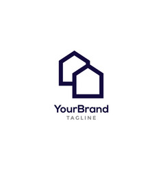 real estate logo template with modern outline vector image