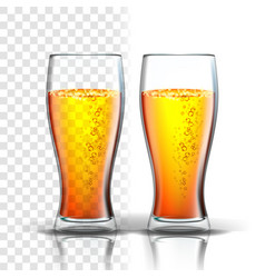 Realistic glass with bubbles lager beer vector