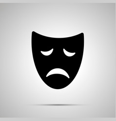 Sad drama mask silhouette simple icon vector