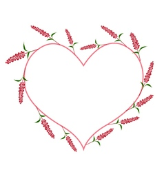 Scarlet Sage Flowers in A Heart Shape vector image