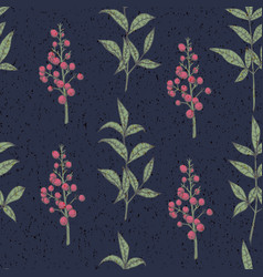 seamless pattern with berries vintage design vector image