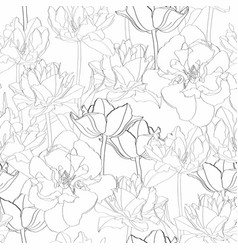 seamless vintage pattern with tulips line vector image
