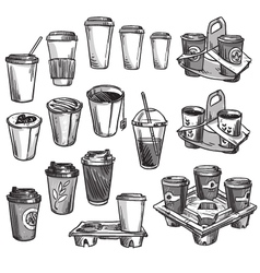 selection of coffee takeaway cups vector image