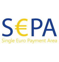 Sepa - single euro payments area sign isolated on vector