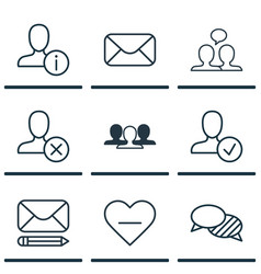set of 9 social icons includes speaking ban vector image