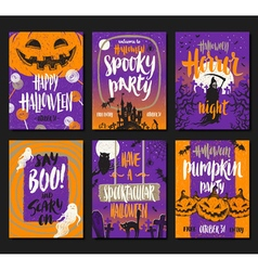 Set of Halloween posters or greeting card vector image