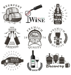 Set of wine and beer signs badges vector
