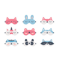 set sleep masks for eyes with cute animals vector image