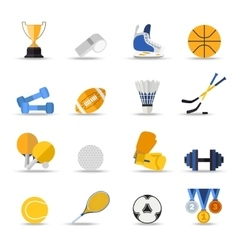 set sport isolated icons flat style design vector image