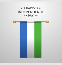 Sierra leone independence day hanging flag vector