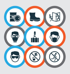 Sign icons set with overhead crane boot barrel vector