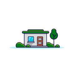 simple store building with trees and green grass vector image