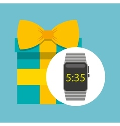 Smart watch technology with gift box vector