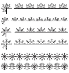 Snoflakes ribbons set vector