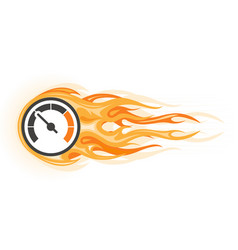 speed - flaming speedometer in motion quick vector image