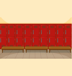 Sport changing room with locker background vector