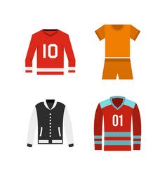 Sport clothes icon set flat style vector