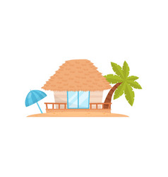 Summer beach house with palm tree and umbrella vector