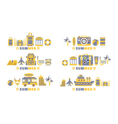 summer travel badges set summertime holidays vector image