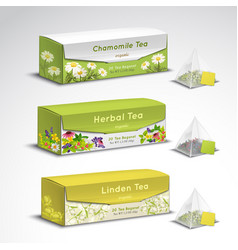 Tea bags packaging realistic set vector