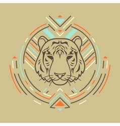 Tiger head in frame vector