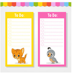 To do list for kids empty template isolated color vector