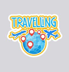 travelling sticker social media network message vector image