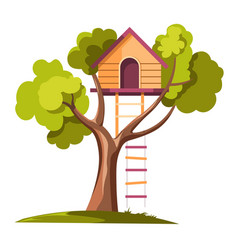 Tree house with rope ladder on daylight vector