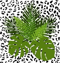 Tropical leaves and animal skin seamless pattern vector image