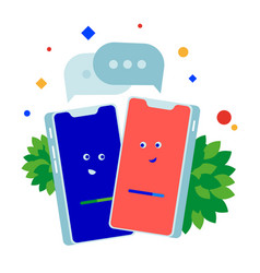 two phones talking to each other vector image