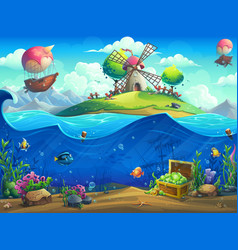 undersea world with grinder on island vector image