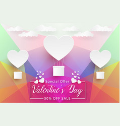 valentines day sale colorful low poly paper art vector image