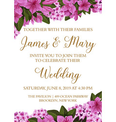 Wedding invitation card with spring flower border vector