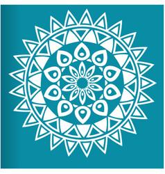 white flower mandala blue background image vector image