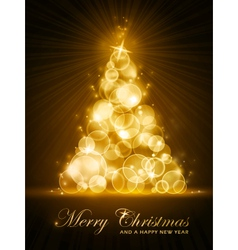 golden stylised christmas tree vector image