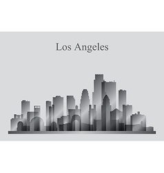 Los Angeles city skyline silhouette in grayscale vector image vector image